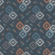 Lewis & Irene To Catch a Dream - 5029 - Aztec Style Geometric Traingle Print on Black - A173.3 - Cotton Fabric
